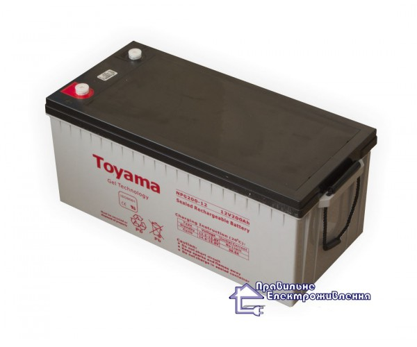 Гелева акумуляторна батарея Toyama NPG200-12 (200А/Год)